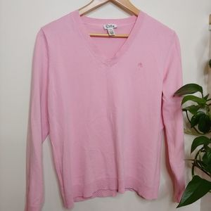Lilly Pulitzer White Tag Pink V-Neck Sweater, XL